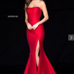 Sherri hill Red strapless gown